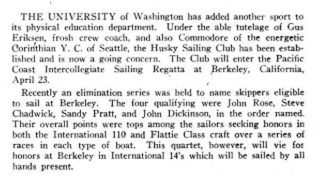 An announcement from Motor Boating Magazine in 1949 mentions Sandy Pratt and other CYC members.