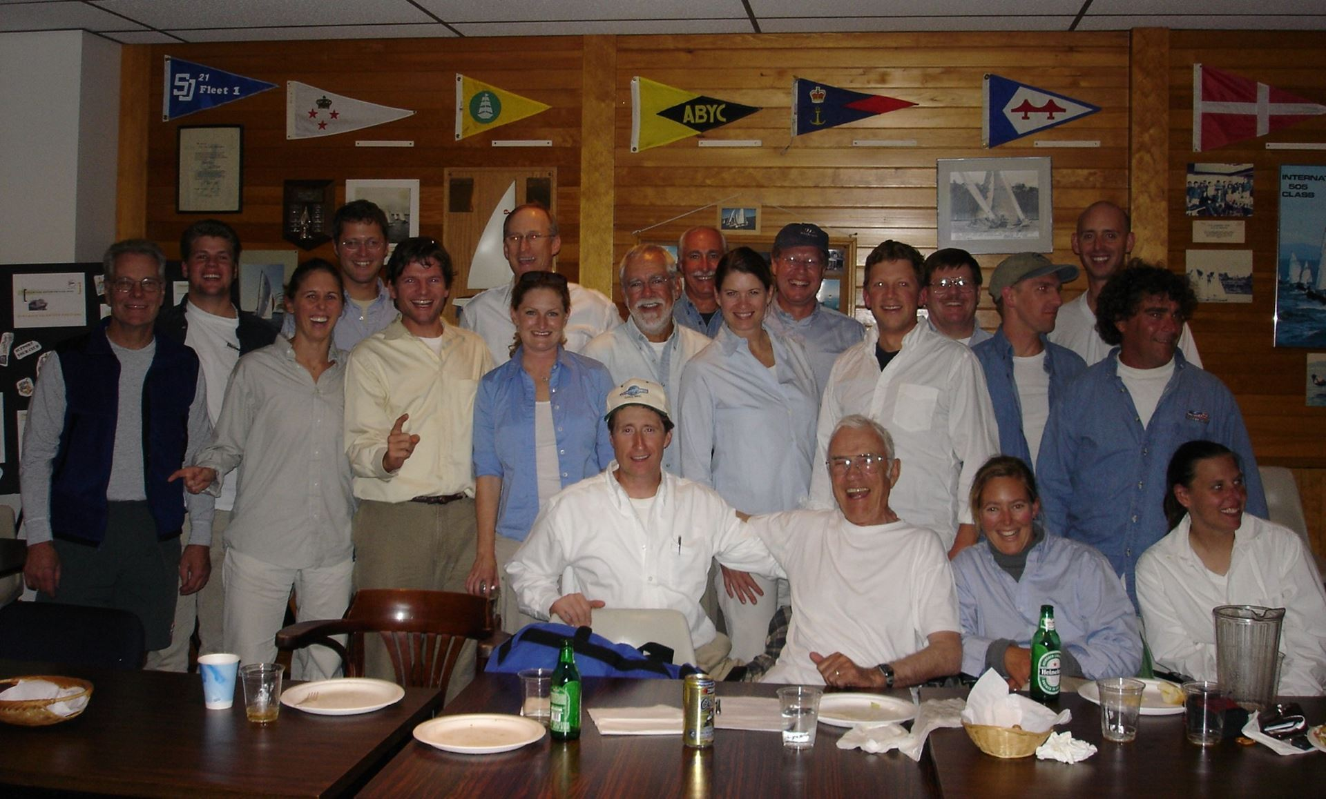 "A ""spontaneous"" Sandy Pratt Party 'just for fun' at CYC's Leschi Clubhouse, photo from Dale Dunning (Note the prevalence of Sandy's signature Oxford shirt)"